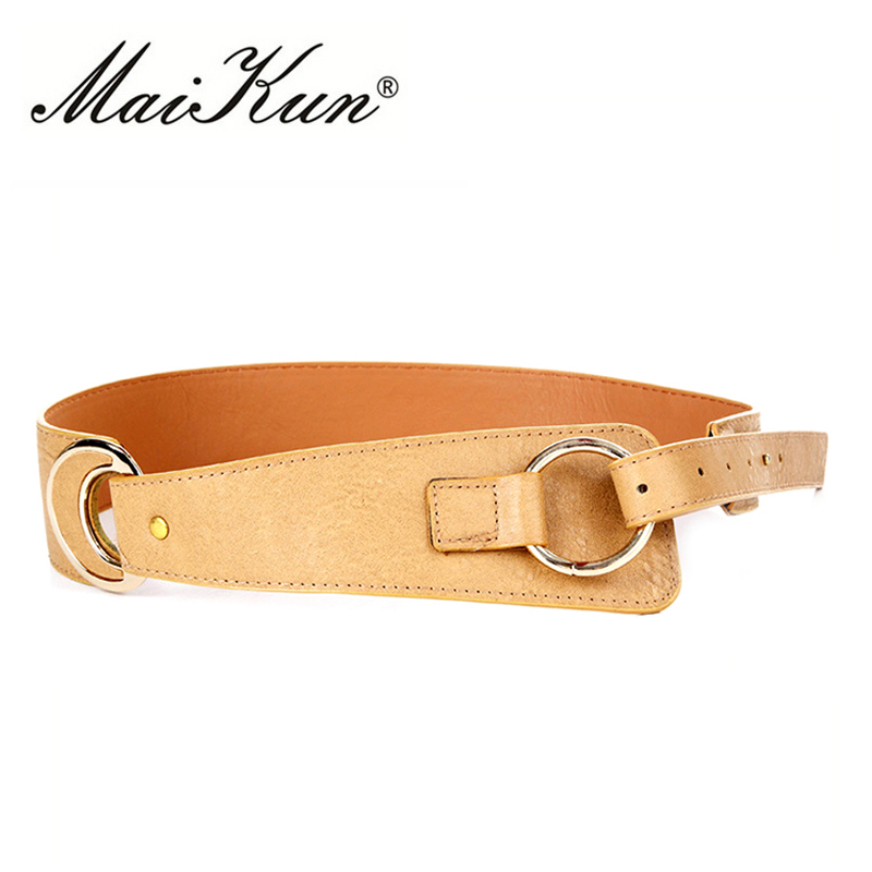 Pin Up Belts For Women Stretchy Cinch For Jeans Wide Waistband Black Leather Women Belt Silver Round Buckle