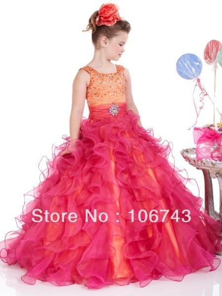 free shipping 2016 Lovely Fuchsia/Peach Organza Little   Girl   Pageant   Dress     Girls   Celebration   Dresses     Flower     Girl     Dresses