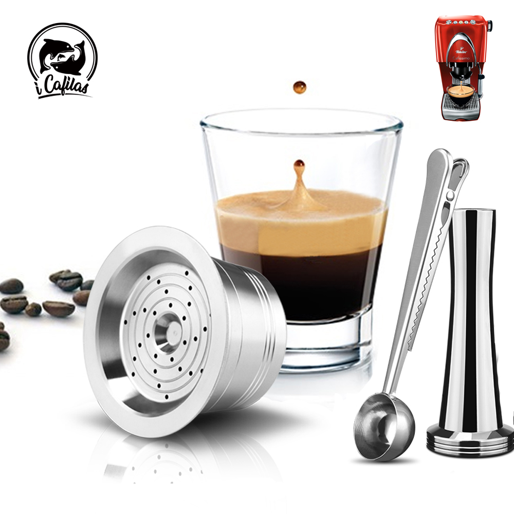 ICafilas  Stainless Steel Refillable Reusable Cafissimo Classic/K FEE Coffee Capsule Cafeteira For Caffitaly & Tchibo  Machine