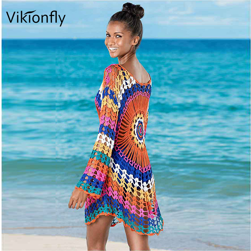 Vikionfly Colorful Crochet Beach Cover Up Bikini Women 2020 Summer Knitted Tunic Swimsuit Coverup Beachwear Beach Dress 72CM image