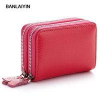 Brand New Women Genuine Leather Card Holder Double Zipper Credit Card Wallet Gift For Men Card Package Purse