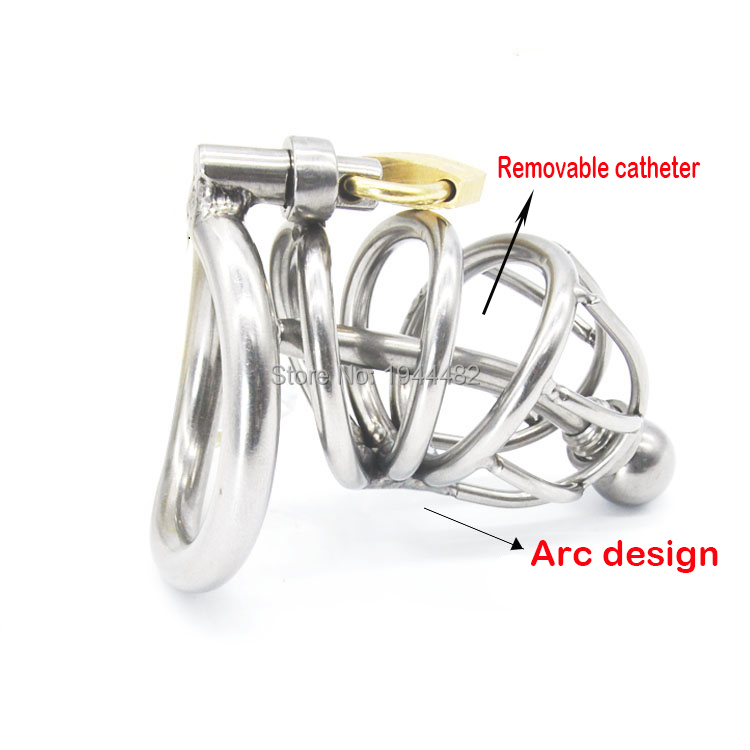 ФОТО Sex Toys Metal Stainless Steel Chastity Belt Penis Sleeve Catheterization Is Arc-shaped Cock Ring For Men