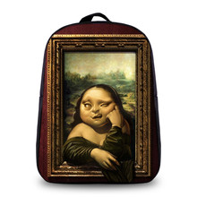 2017 new fashion Harajuku ulzzang female Vintage embroidery Mona Lisa backpack women's mochila schoolbag men travel shoulder bag