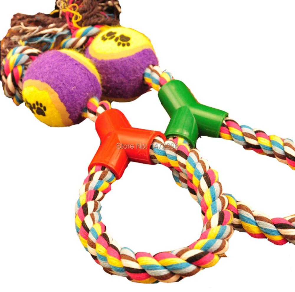 Braided Rope Tennis Ball Grinding Clean Teeth Playing Chew