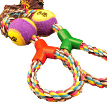 Braided Rope Tennis Ball Grinding Clean Teeth Playing Chew Exercise Toy for Pet Dog Cat