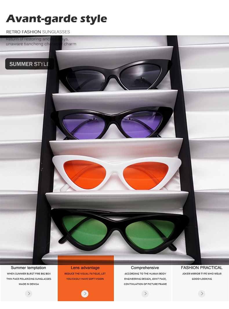 HTB1zxv nrsTMeJjy1zbq6AhlVXaT - WHO CUTIE 2018 Brand Designer Black Cat Eye Sunglasses Women Cool Small Cateye Frame Sun Glasses Fashion UV400 Shades WG-008