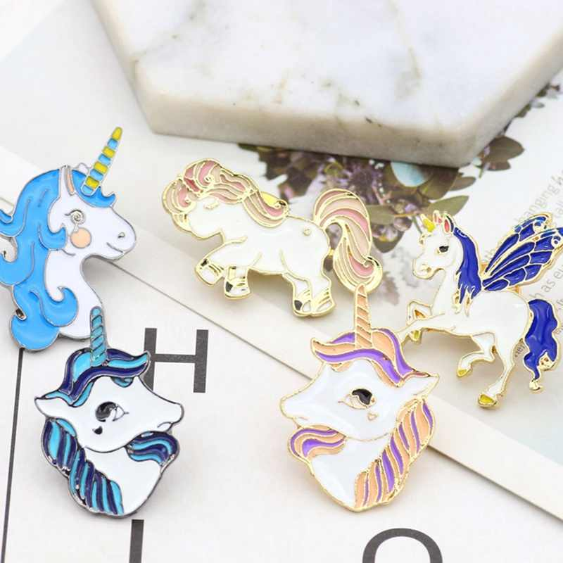 Hot Fahsion Kartun Colorful Unicorn Alpaca Enamel Bros Lencana Manis Lucu Kepala Kuda Bros Pin Wanita Korsase Perhiasan