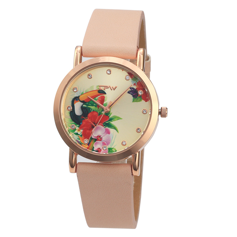 tropical lady watch toucan bird pattern leather strap hot sale lady wristwatch