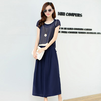 2015 Spring And Summer Women S Suits Short Sleeved Blouse Was Thin Wide Leg Pants Plus