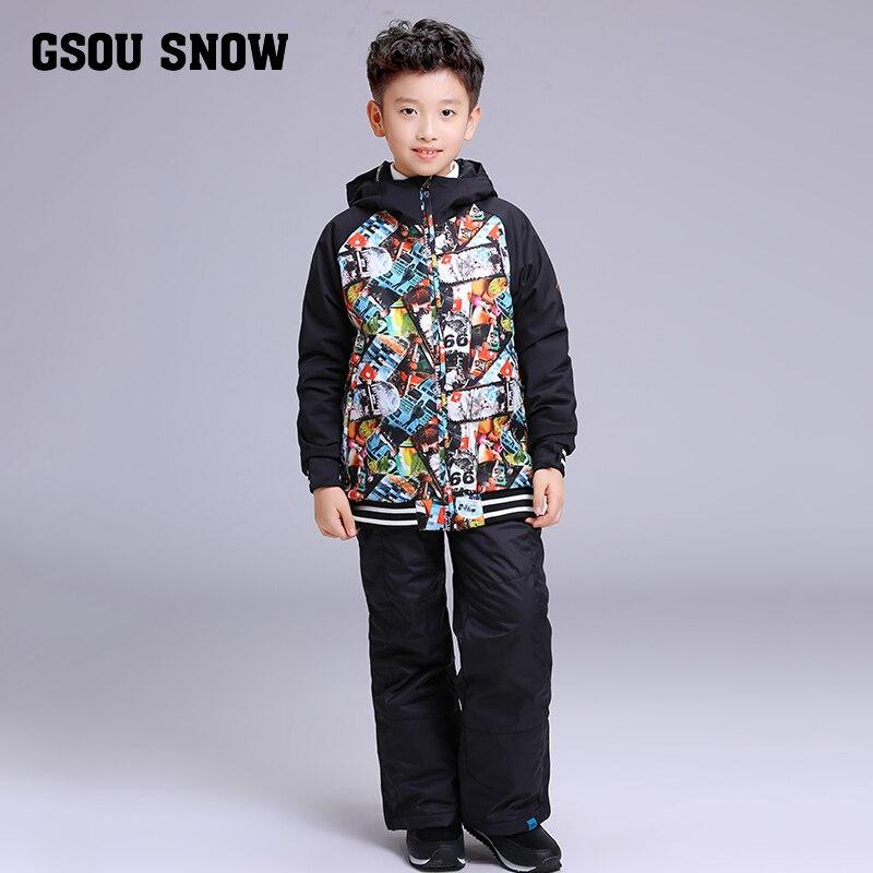 2019 enfants Ski costume garçons Gsou neige Ski Snowboard veste pantalon thermique imperméable coupe-vent costume de plein air Sport porter des vêtements nouveau