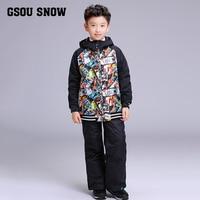 2019 Kids Ski Suit Boys Gsou Snow Skiing Snowboard Jacket Pant Thermal Waterproof Windproof Suit Outdoor Sport Wear Clothing New