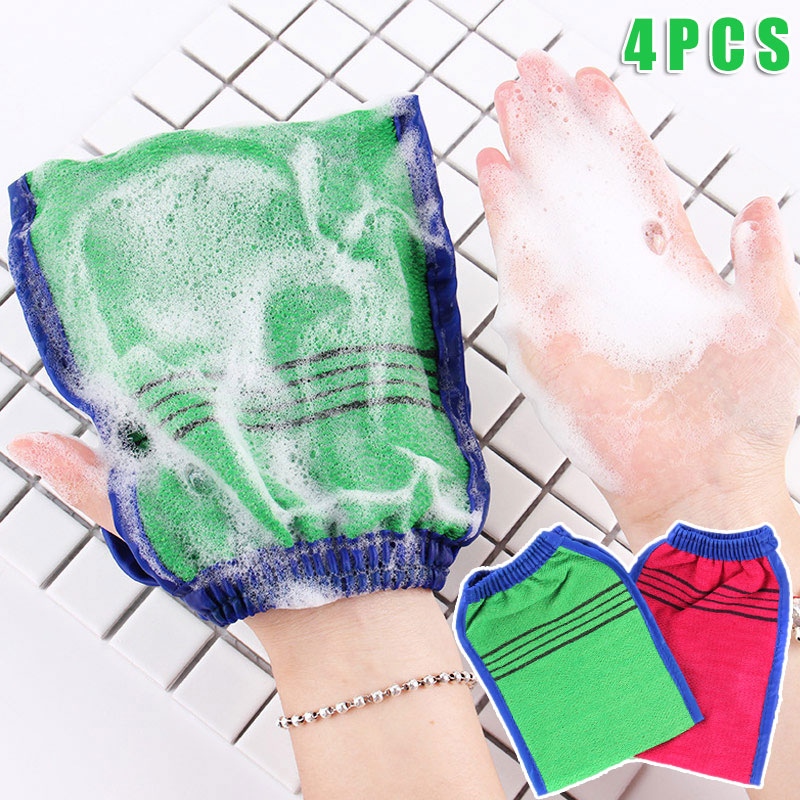 4 Pcs Body Cleaning Scrub Mitt Bath Glove Dead Skin Removal Shower SPA Exfoliator HJL2019