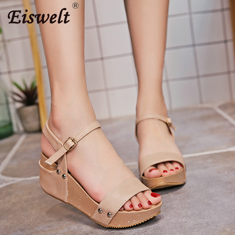 EISWELT 2018 Women Sandals White Flat Sandals Wedges Heel Sommar - Damskor - Foto 3