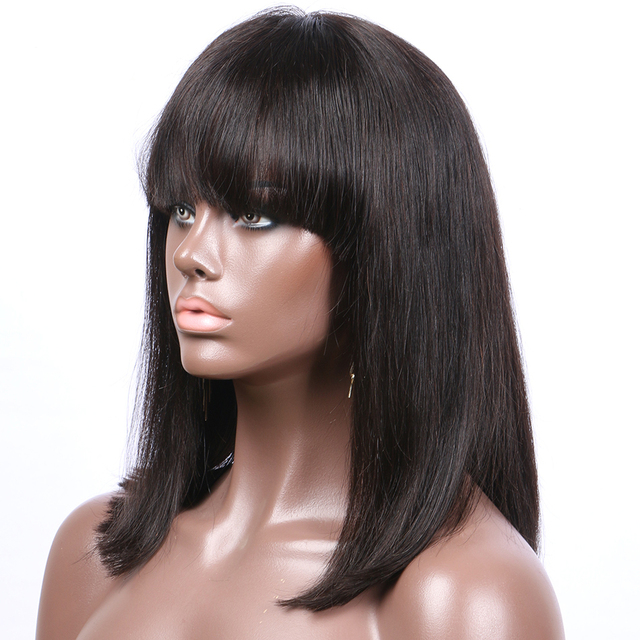 Straight Fringe Short Bob Non-Remy Human Front Lace Hair Wig