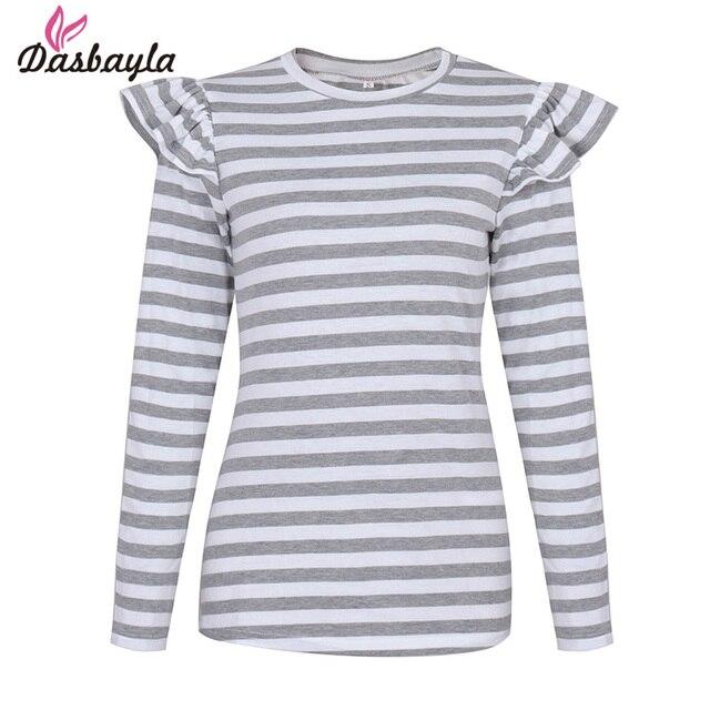 Dasbayla 2017 Weibliche Streifen T Shirt O Ansatz Feste Langarm