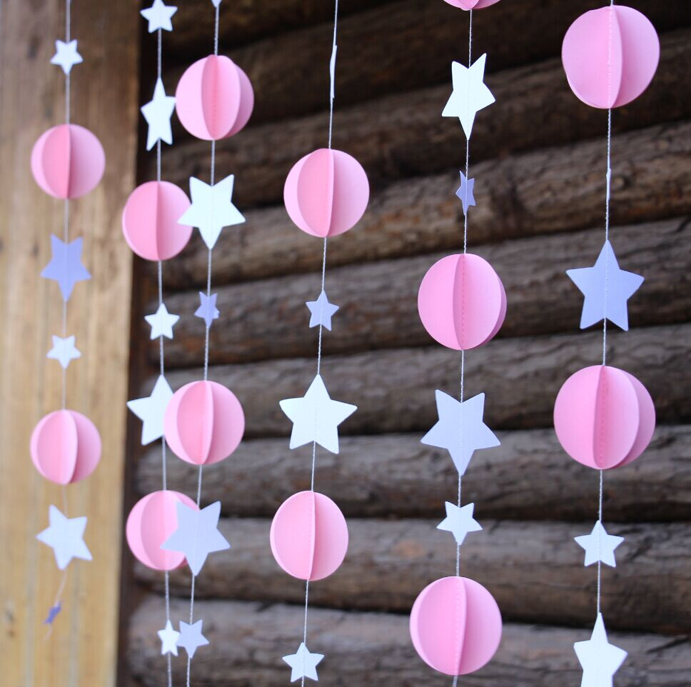 Pink baby girl shower diy baby shower mobile nursery hanging decor paper garland sprinkle - Decoration baby shower fait maison ...
