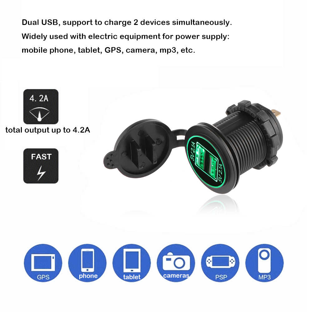 Onever 12-24V USB Charger for Motorcycle Auto Truck ATV Boat  LED Car 4.2A Dual USB Socket Charger Power Adapter Outlet Power