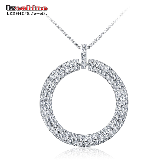 LZESHINE New Hyperbole Pendant Necklace Paved AAA Zirconia Silver Plated Big Circle Necklaces Jewelry For Women Party CGCNC0005