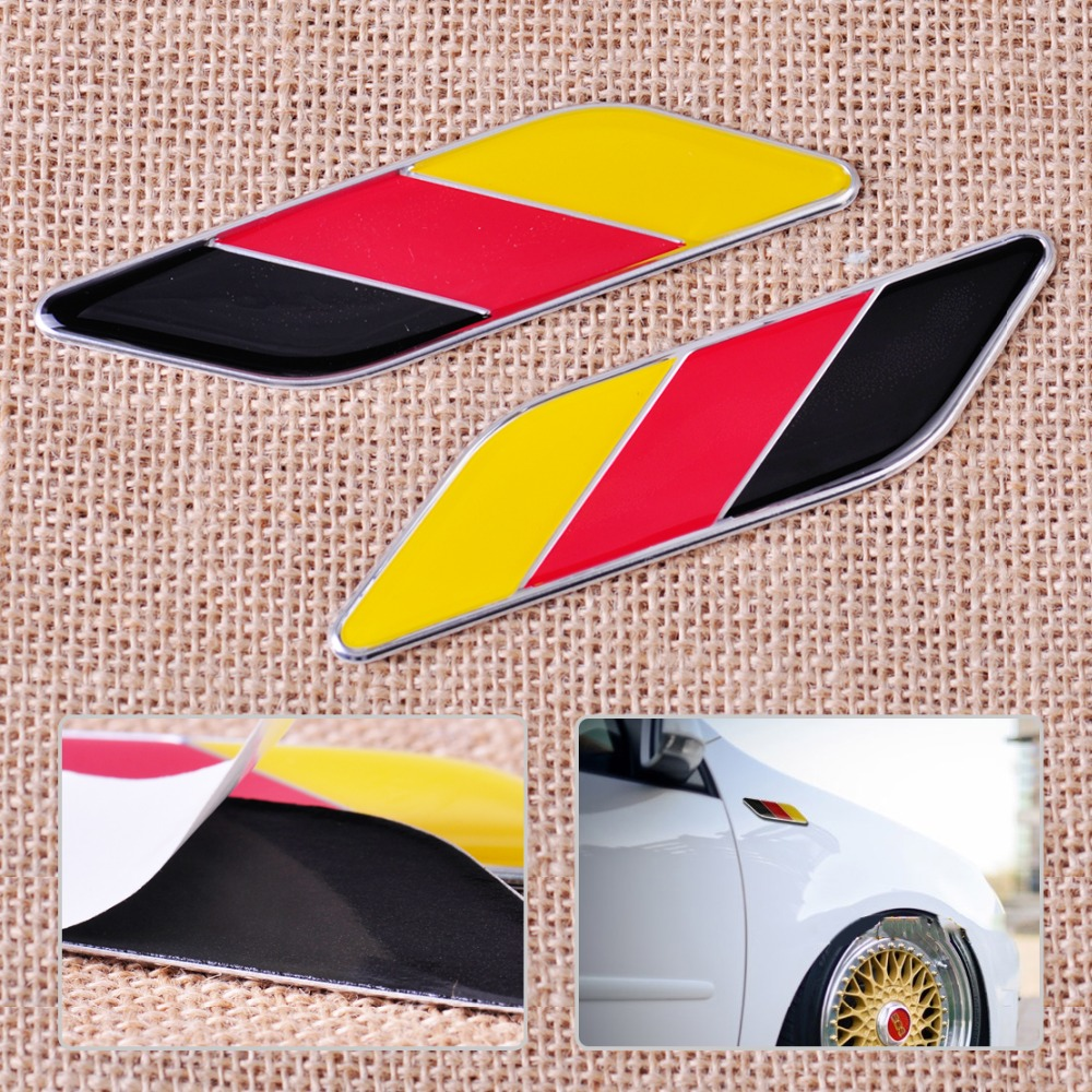 CITALL 1 Pair Aluminum Germany Flag Color Emblem Badge Stripe Sticker Decal for Ford VW Audi BMW Mercedes Toyota Honda Hyundai