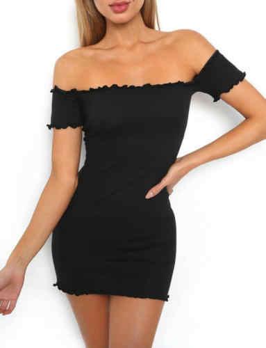 Femmes dames robes Sexy moulante Bandage à manches courtes robe soirée Cocktail crayon court Mini robe noir
