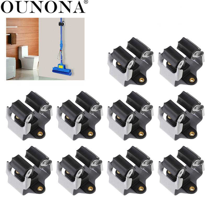 OUNONA 10pcs Broom Hanger Mop and Broom Holder Broom Organizer Grip Clips Wall Mounted Garden Storage Rack with Screws
