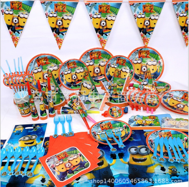 84 Pcs Luxury Children Birthday Decorations Despicable ME 2 Minions Baby Theme Celebrations Party Pack