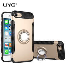 UYG hard case for iPhone 6 car holder stand magnetic suction bracket finger ring silicone+plastic cover 7 fundas