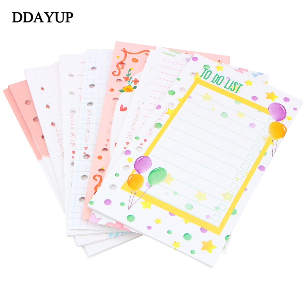A5 A6 Candy Color 6 Holes Personal Planner Inside Page Diary Planner Organizer Seperator Pages Office School Stationery my beauty diary 10 page 6