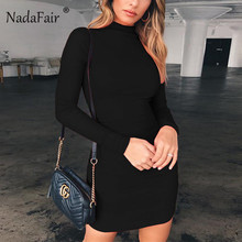 Nadafair Long Sleeve Mini Dress Women Basic Autumn Spring Turtleneck Bodycon White Black Red