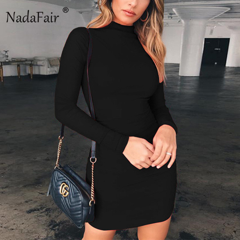 Nadafair Long Sleeve Mini <font><b>Dress</b></font> Women Basic Autumn Spring Turtleneck Bodycon <font><b>Dress</b></font> White <font><b>Black</b></font> Red image