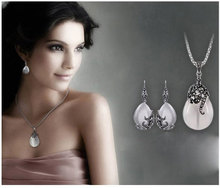 New Retro Silver Fashion Opal Water Drop Flower Pendants Long Necklaces And Drop Earrings Jewelry Sets Corn Chains 30 #8243 cheap Jemmin 925 Sterling Zircon Third Party Appraisal S58601 TRENDY None Wedding Women Necklace Earrings Crystal Retro Silver