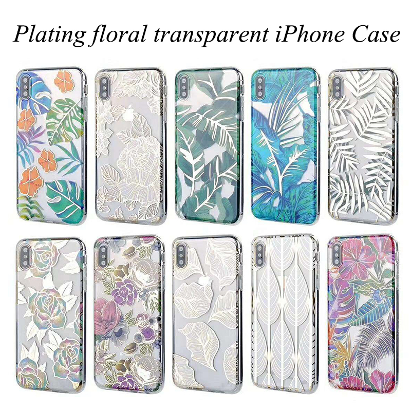 Gold leaf transparent plating phone case floral leaves colorful electroplate case for iPhone 6 6s plus case 7 iPhone XS max XR 8