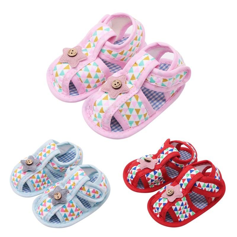 Summer Newborn Cotton Sandals Baby Girl Hollow Printed Soft-Soled Dress Sandals Children\'s Princess Baby Shoes