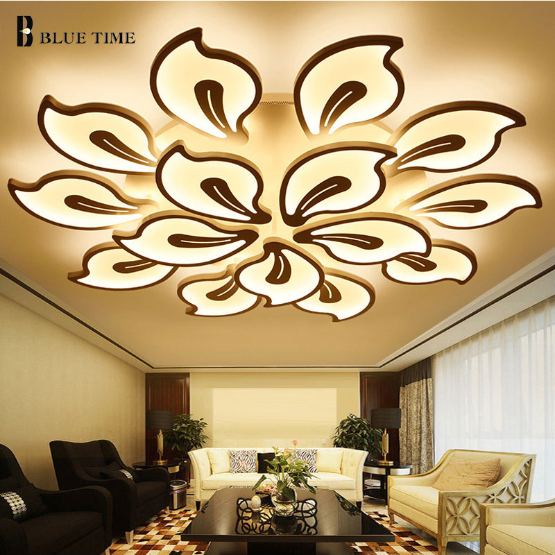 Lustre en LED pour salon, blanc noir et blanc