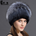 Women's Winter Beanie Hat Real Rex Rabbit Fur Hats For Women Knitting-Beanie Thicken Female Luxury Fox Cap Beanies