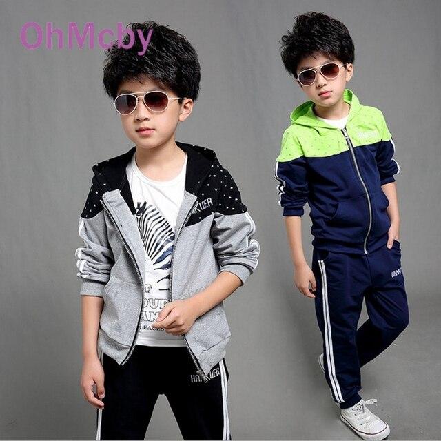 OhMcby 2017 Spring Autumn Kids Clothes Sets Children Casual 2 Pcs Suit Jackets Hoodies+Pants Baby Set Boys Sport Suit Outwear