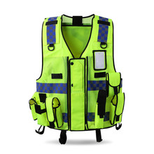 Adjustable Size Multifunctional Multi pockets Safety Reflective Security Vest Waistcoat with Blue and White Reflective Strips(China)