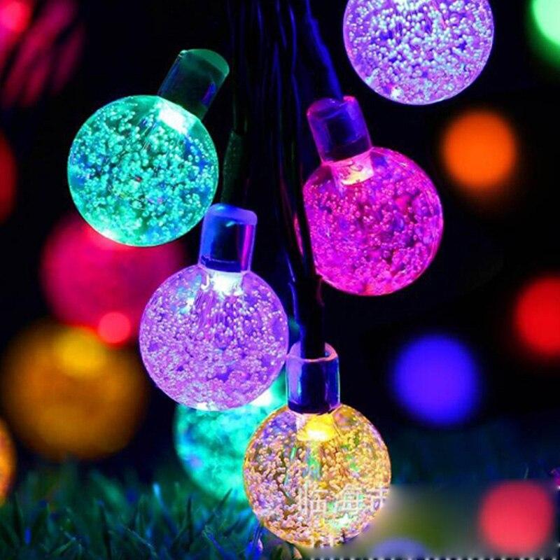 Led lâmpadas solares bola à prova dwaterproof água colorido fada ao ar livre luz solar jardim festa de natal decoração luzes da corda solar