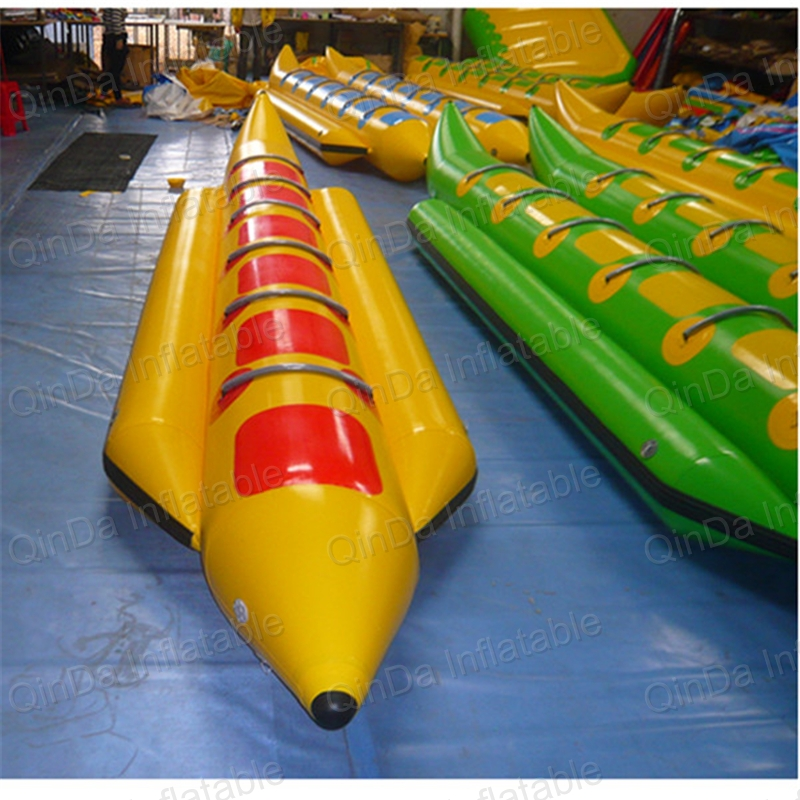 8 seats inflatable water toys flying banana boat surf on water inflatable craft flying canoe sport games 4 1m red colour inflatable towable tube crazy ufo flying boat inflatable water sofa for summer water park