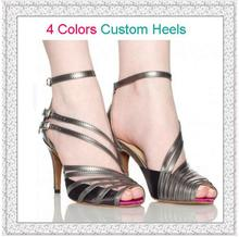 New 2017 Professional Popular Silver PU Women's Latin Dance Shoes Ladies High Heels 8.5cm 10cm Salsa Party Square Dance Shoes