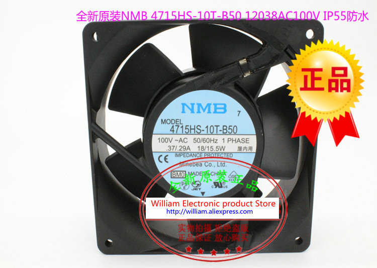 New Original NMB 4715HS-10T-B50 AC110V 18/15.5W 120*120*38MM 12CM waterproof cooling fan new and original 12cm 4715kl 04w b50 12038 1 3a double row ball bearing cooling fan for nmb 120 120 38mm