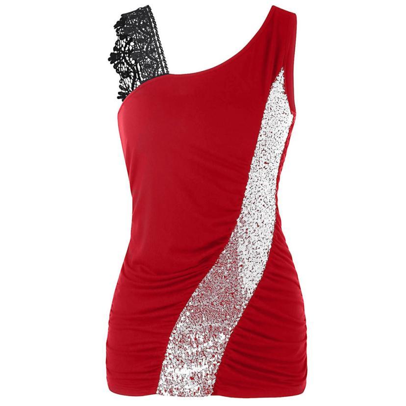 Fashion Lace Glittering Skew Sequins Tank Top 2018 New Women V-Neck Sleeveless Asymmetric Ladies Tops Big Size Women Tanks 4