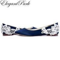 Woman Shoes Navy Blue Pointed Toe Comfort Flats Ballet ShoesLace Appliques Satin Bride Women S Wedding