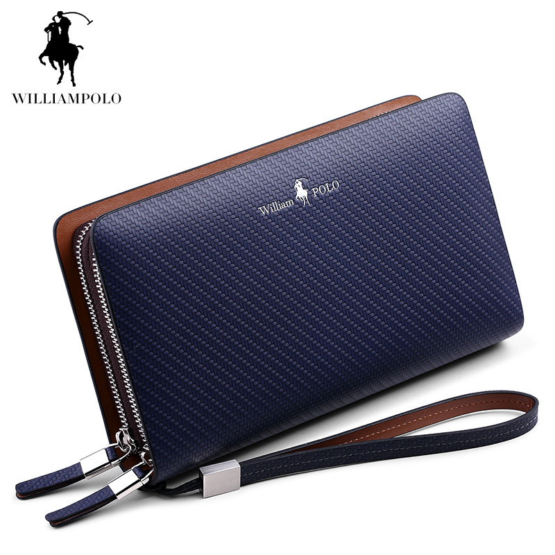 France Famous Brand Double Zipper Genuine Leather Wallet For Men Clutch Wallets Card Holder Purse Men's Wallet Bags Male Handbag 2016 purse famous brand zipper wallets genuine leather bag wallet male purse card case men and ultra thin carteira