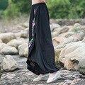 Mulheres Chinês Tradicional Bordado Harem Pants 2017 Preto Bloomers Perna Larga Cintura Elástica Calças De Linho Casuais Calças Outono