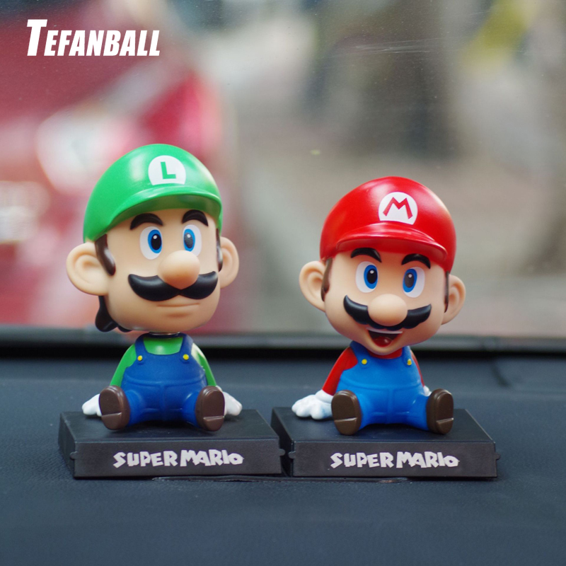 Funny Super Mario Bros Car Dolls Head Shaking Toy Model Lovely Car Ornaments Auto Interior Decoration Accessories Kids Gift 2019-in Ornaments from Automobiles & Motorcycles