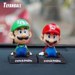 Image 1 - Komik süper Mario Bros araba bebek kafa sallayarak oyuncak modeli güzel araba süsler oto İç dekorasyon aksesuarları çocuklar hediye 2019