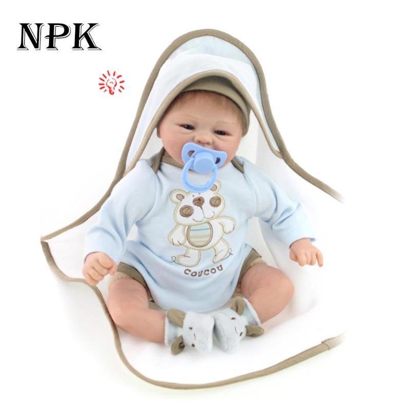 Lifelike 45cm NPK Soft Simulation Silicone Realistic Reborn Baby Doll Kids Truly Boneca BeBe Playmate Birthday Gifts Soft Toy