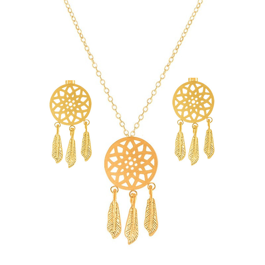 GORGEOUS TALE Hot Sale New Arrival Hollow Tassels Women Jewelry Stainless Steel Necklace with Earrings Jewelry Set Friend Gift