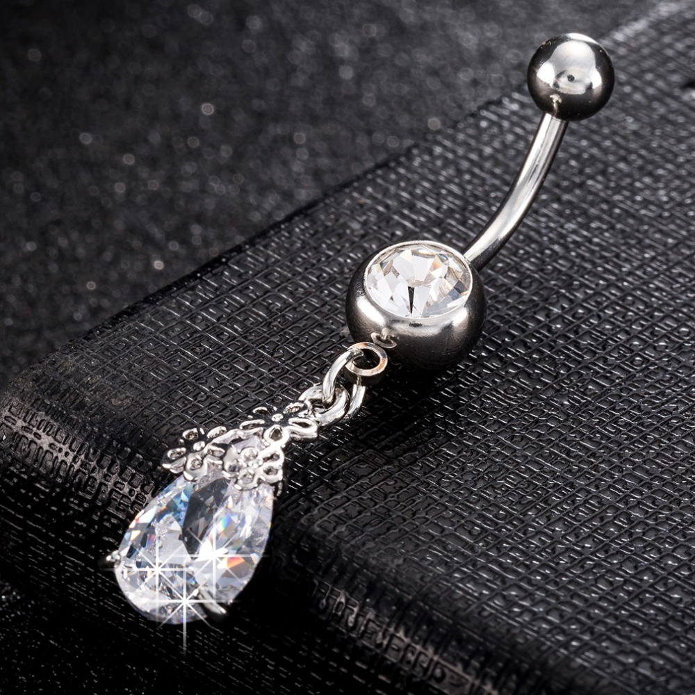 Jewelry amp watches gt fashion jewelry gt body jewelry gt body piercing - Medical Stainless Steel Belly Button Ring Body Jewelry Piercing Crystal Stones Navel Umbilical Nail Earrings Body